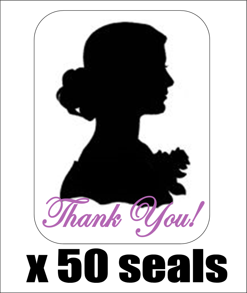 50 Cameo Silhouette Thank You Envelope Seals / Labels / Stickers, 1 By 1.5  - $2.15
