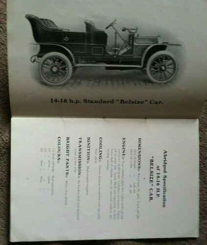 rare 1909-1913  BELSIZE CAR BRITISH 14 HP MANUAL ILLUSTRATIONS PARTS MODELS 32pg