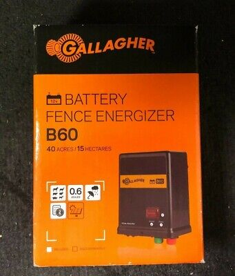 Gallagher B60 40-acre Battery Fence Energizer G351504 Black Brand New
