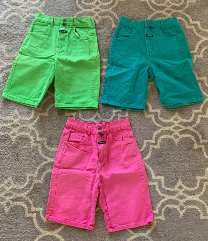 Vintage Lot Of 3 Girls Palmetto's Jean Denim Shorts Size 10 Neon 90's