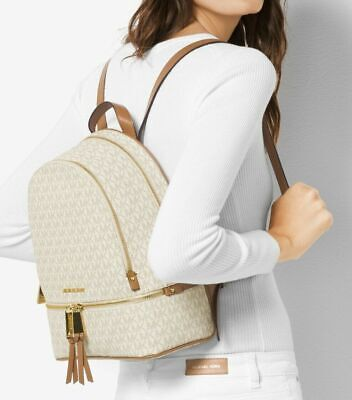 MICHAEL MICHAEL KORS Rhea Leather Backpack Vanilla - Fast Shipping -