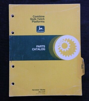 John Deere 3300 4400 6600 7700 Combine Quik-tatch Platforms Parts Catalog Manual