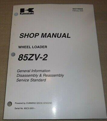 Kawasaki 85zv-2 Wheel Loader Shop Service Manual Powered By Qsc8.3 Engine