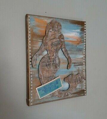 Artist Signed Mermaid Mixed Media Art on Canvas 8x10 OOAK- Beach Art- gold blue