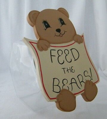 Feed The Bears . Glass Penny Candy / Cookie / Snack Jar / Canister w/ Wood Lid (The Candy Jar)