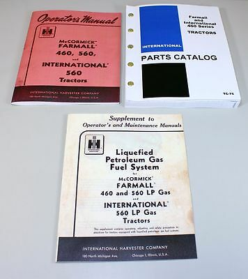 Set International Farmall 460 Tractor Operator Parts Lp Gas Manual Catalog