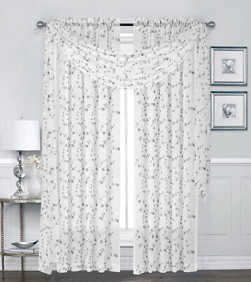 Caspia Embroidered Floral Semi Sheer Window Curtain Treatments - Assorted Colors Floral Window Treatment