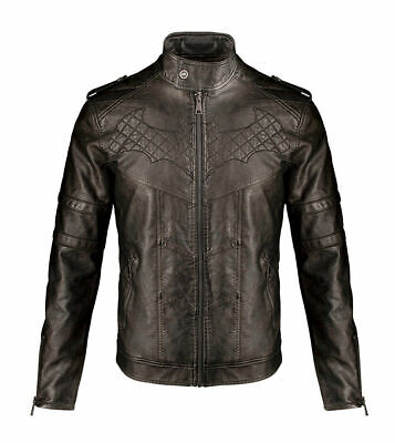 Men's Black Batman Inspired Bruce Wayne Style Halloween Costume Leather Jacket