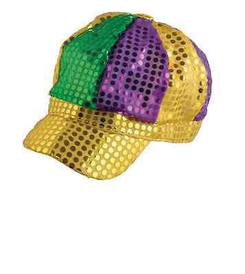 Mardi Gras Sequin Newsboy  Hippster Party Cap Hat News Boy Yellow Purple Green  (Yellow Newsboy Cap)