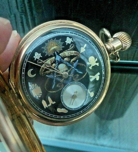 Vintage Masonic Waltham USA Gold Plated Full Hunter Pocket Watch  - Working