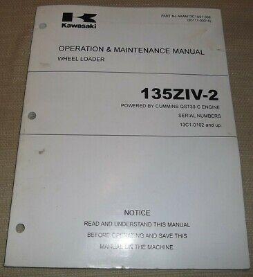 Kawasaki 135ziv-2 Wheel Loader Operation Maintenance Manual W Qst30-c Engine