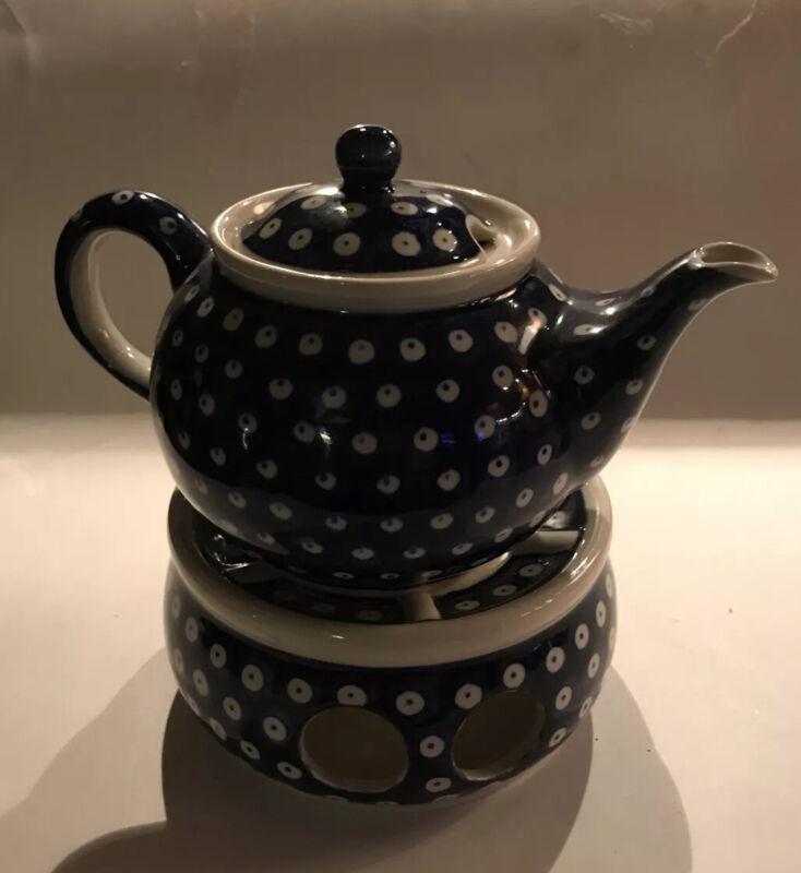 Boleslawiec Polish Pottery Teapot Warmer Peacock Blue Off White Green Odd Lid