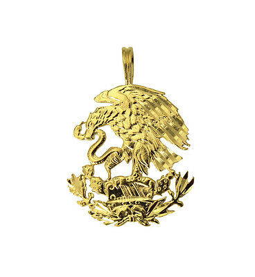 14K Real Yellow Gold Diamond Cut Mexico Mexican Shield Eagle Charm Pendant Diamond Cut Eagle Charm
