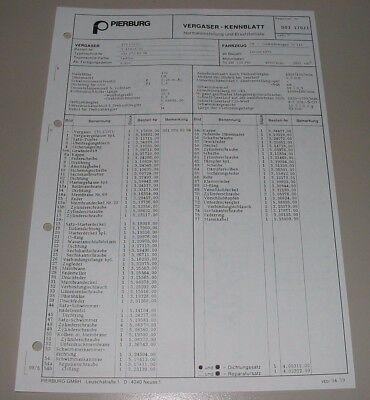 Pierburg Vergaser 175 CDTU Kennblatt Ersatzteilliste Mercedes W 460 G-Klasse ´79, gebraucht gebraucht kaufen  Wilhelmshaven