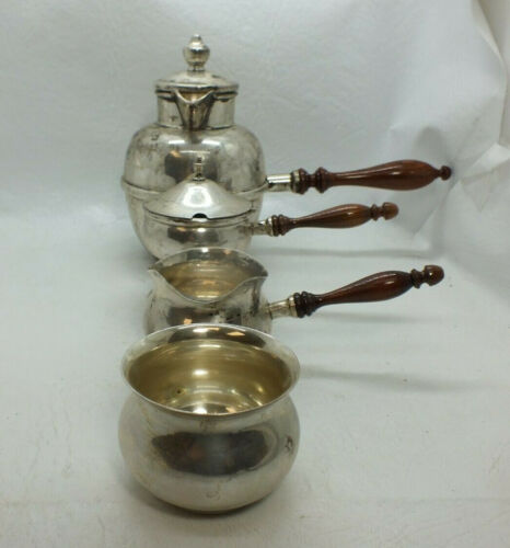 B&M Sterling Silver Sugar Creamer Pot Brandy Warmer Sauce Set - RC697