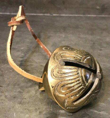 Vintage Heavy Old Time Solid BRASS SLEIGH BELL # 8 Petal Tan Rawhide Hang Loop
