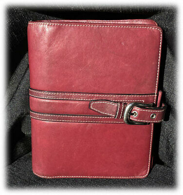 Franklin Covey Leather Collages Burgundy Buckle Compact Planner Binder Euc