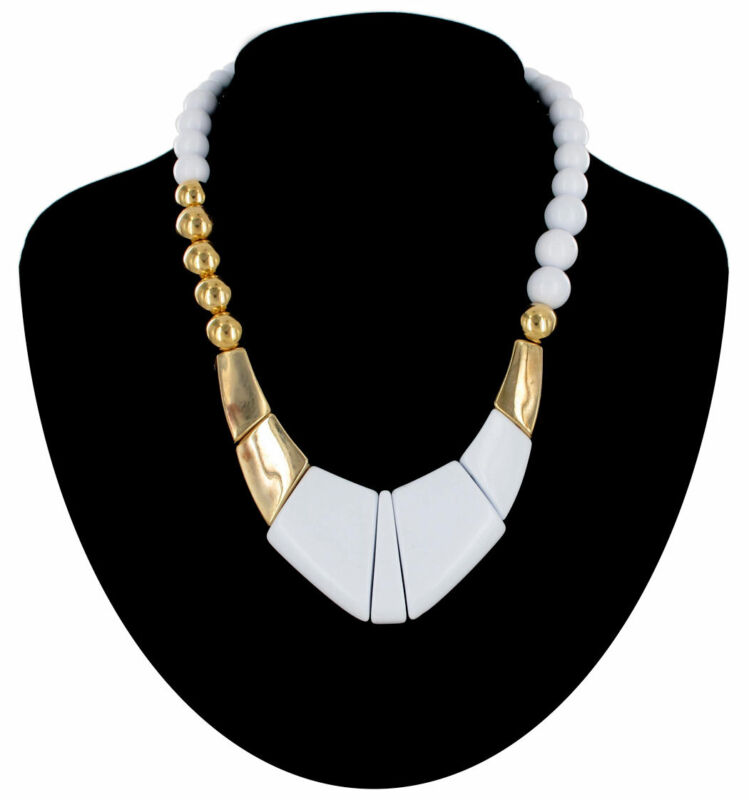 """Geometric White Lucite Gold Tone Collar Vintage 1980S Beaded Necklace 17"""""""