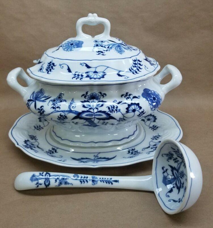 "BLUE DANUBE Soup Tureen Set Lid Underplate & Ladle "" Blue Onion "" Rectangle Logo"