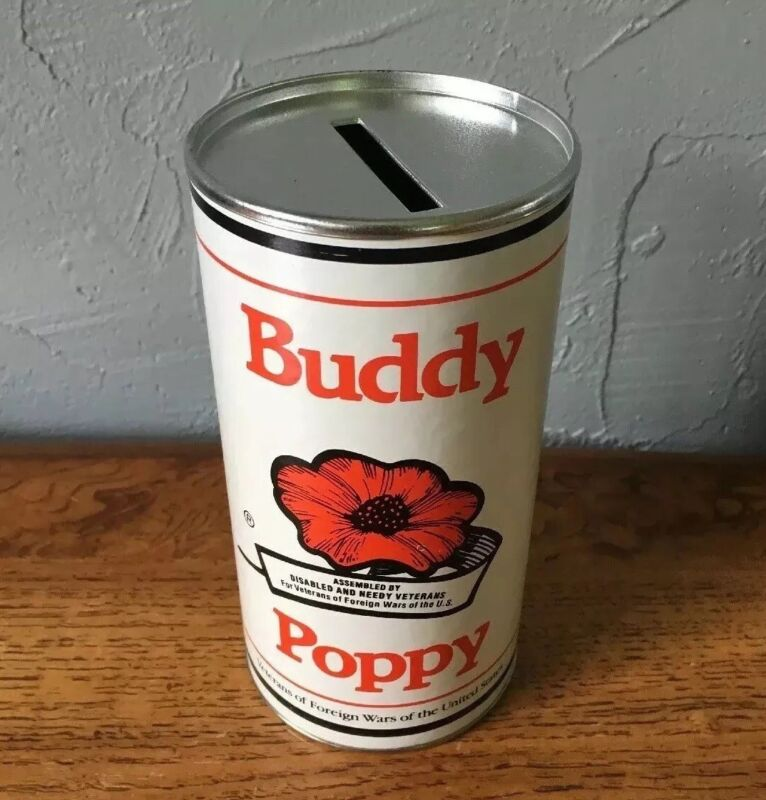 Vintage U.S. Veterans of Foreign Wars Buddy Poppy Donation Can Coin Bank NOS