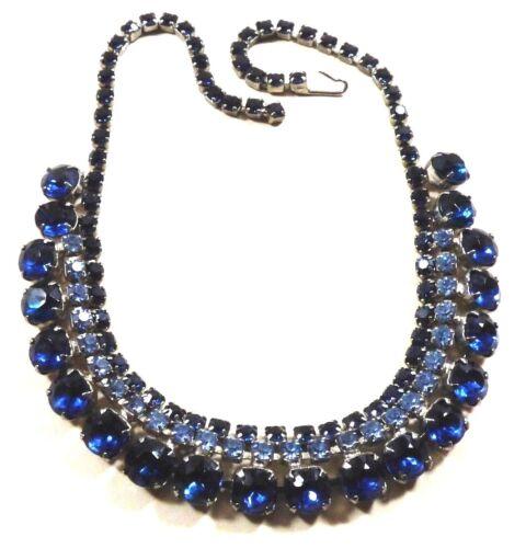 VTG Retro Style Sapphire Blue crystal silver tone Rhinestones Collar Necklace