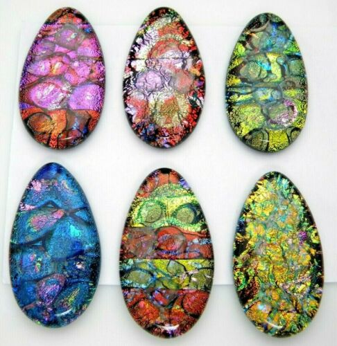 Lot of 6 pcs TEARDROP DICHROIC FUSED GLASS for pendant (P24) CABS HANDMADE