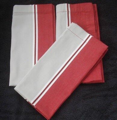 Striped Napkins (Pottery Barn Striped Cloth Napkins Red Cream Taupe Set of Three)