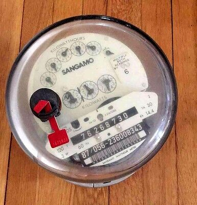 Sangamo Watthour Meter Electric Kilowatt Hour 120v 3w 60hz Steam Punk Parts