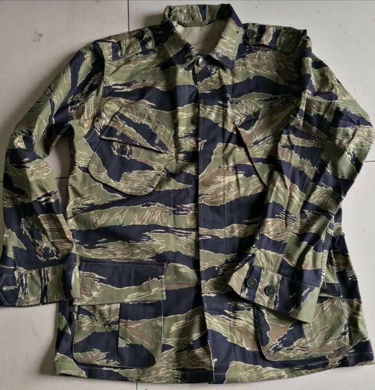 JWD pattern Tiger Stripe Camo Combat Jacket, exposed buttons, slant pocket type.