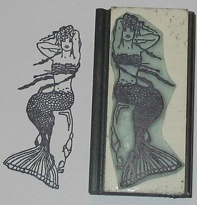 - Mermaid Seated on Rocks rubber stamp by Amazing Arts