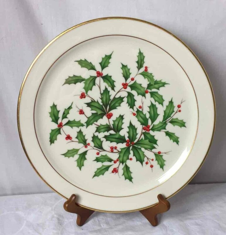"""LENOX 13"""" Christmas Holly Dinner/Serving Plate HOLIDAY USA MADE Gold Gilded Rim"""