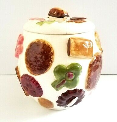 Vintage 1950's Cookies All Over Cookie Jar Walnut Lid Los Angeles Pottery * A1