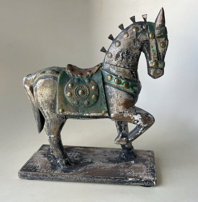 """Distressed Carved 12"""" Wood Vtg Greek Trojan War Horse Figure Nail Mane Saddle"""