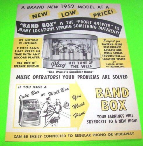 BAND BOX Chicago Coin 1952 ORIGINAL NOS Jukebox Music Promo Sales Flyer RARE