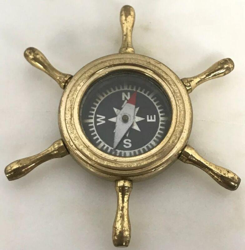 Vintage Nautical Brass Ships Steering Wheel Trinket Compass