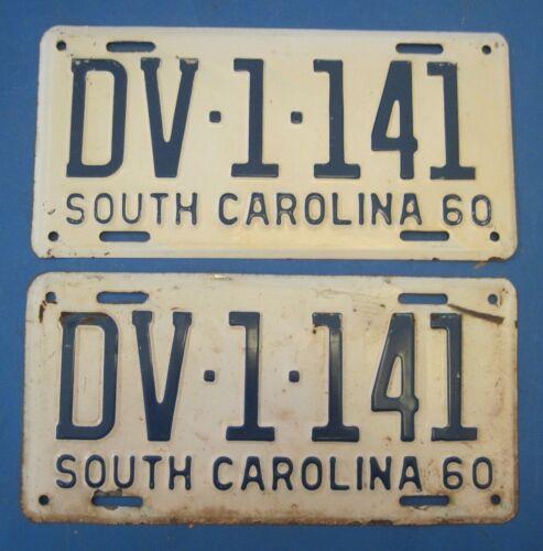 1960 South Carolina license plates matched pair