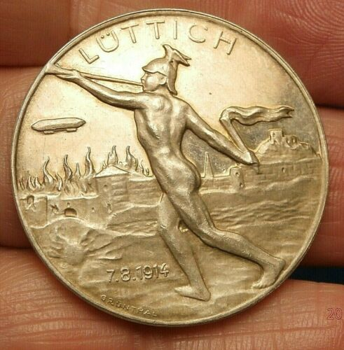 1914 ZEPPELIN OVER BURNING CITY of LIEGE SILVER MEDAL S-380