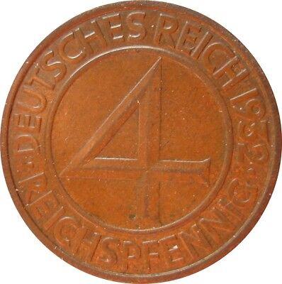 J315  4 Pfennig Weimar von 1932 F in SS-VZ   666 228