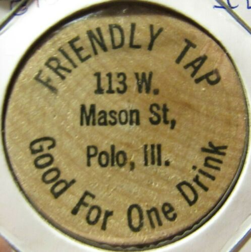 Vintage Friendly Tap Polo, IL Wooden Nickel - Token Illinois