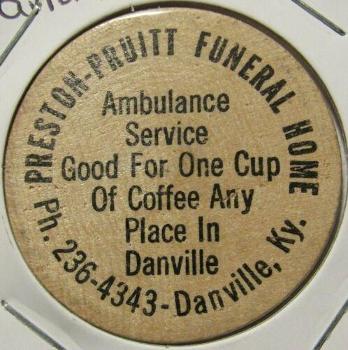 Vintage Preston Pruitt Funeral Home Danville, KY Wooden Nickel - Token Kentucky