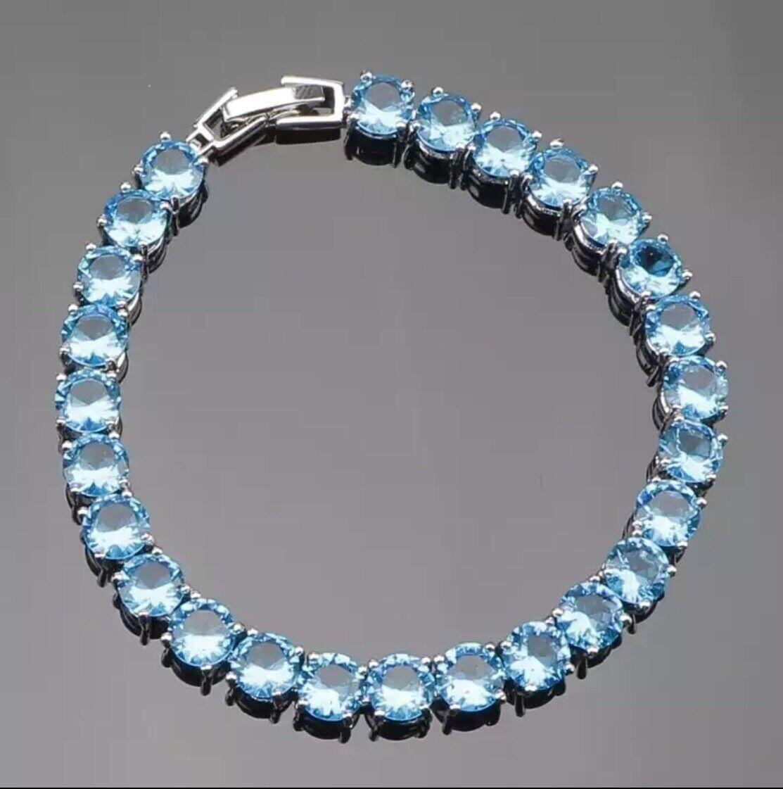 Natural Blue Topaz 925 Sterling Silver Tennis Bracelet Bangle 7 Inch 11g