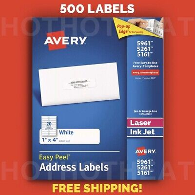 500 Avery 596152615161 Address Mailing Shipping Labels 1 X 4
