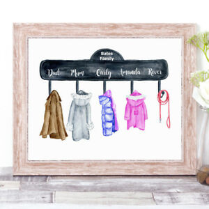Personalised COATS Watercolour Word Art Family Print New Home Coat Hook Hanger