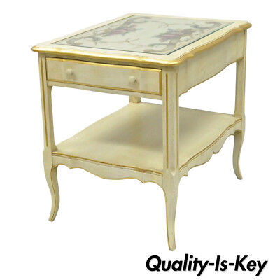 Vintage French Country Provincial Style Floral Painted Cream 1 Drawer End Table Glass Country End Table