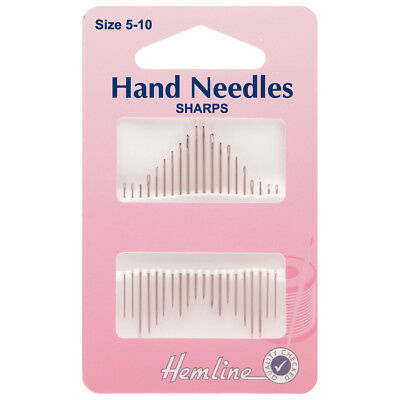 """HEMLINE SIZE 5/10 HAND SEWING NEEDLES SHARPS """"household"""" PACK OF 20 BNEW"""