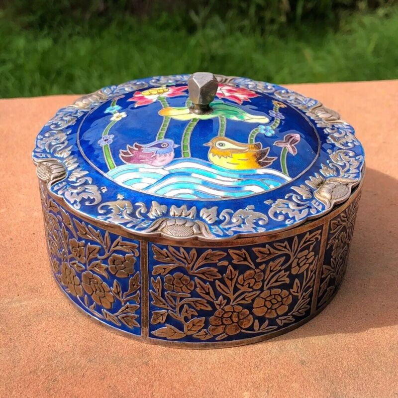 ANTIQUE PURE 999 990 SILVER KOREAN CLOISONNE ENAMEL BIRDS & FLORAL COVERED BOX