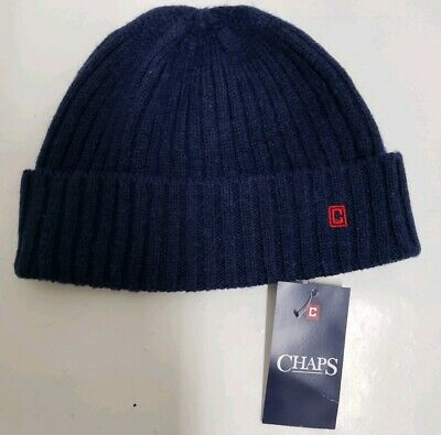 Chaps Men's Winter Beanie Hat One Size Navy Blue Red Logo Knit