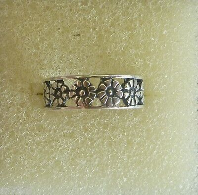 Row of flowers toe ring genuine .925 sterling silver