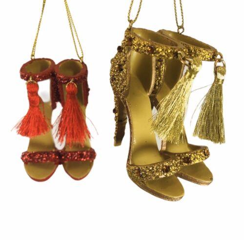 Tassel High Heel Shoes Ornament Kurt Adler Red Gold Hanging Christmas Dancing