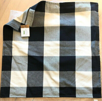 Pottery Barn BUFFALO CHECK PLAID Pillow Cover 24 X 24 NWT~Black Farmhouse